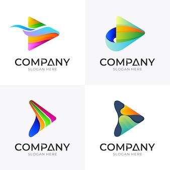 矢印メディアロゴデザインのセット