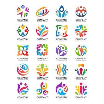 人とコミュニティのロゴのセット