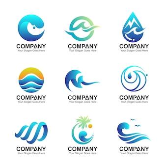 波のロゴテンプレート、水のシンボルのコレクション、波と自然のアイコンが設定されています