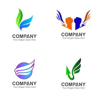 翼のロゴデザインのバリエーション
