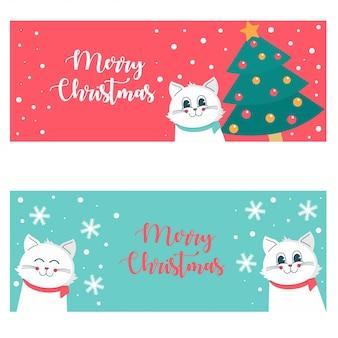 猫とかわいいクリスマスバナー