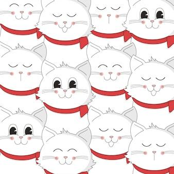 かわいい猫の漫画のパターンとクリスマスデザイン