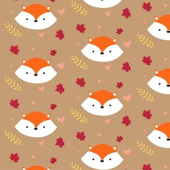 かわいい赤いキツネの秋のパターン
