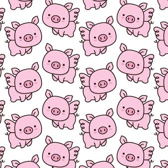 かわいい赤ちゃん豚の羽模様