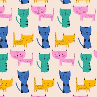 Симпатичный красочный узор с котом