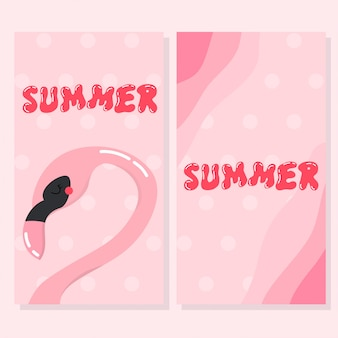 Симпатичная фламинго летняя открытка