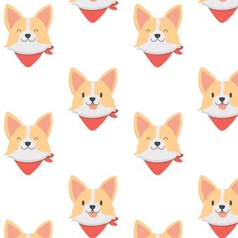 かわいいウェールズコーギー子犬パターン