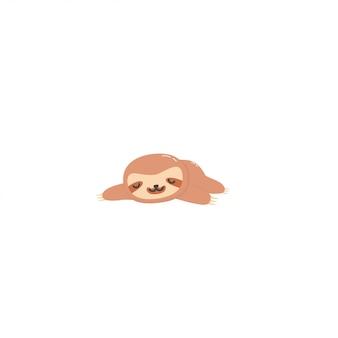 Ленивый ленивец спит вектор