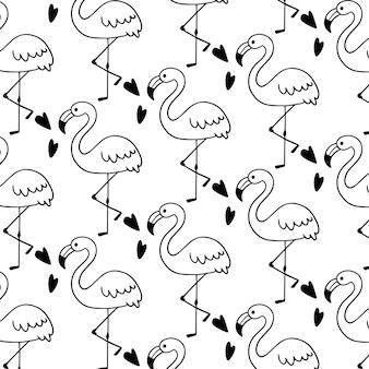 かわいいフラミンゴ落書きシームレスパターン