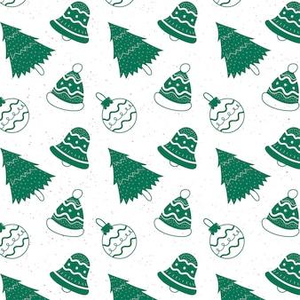 Симпатичные рождественские каракули шаблон