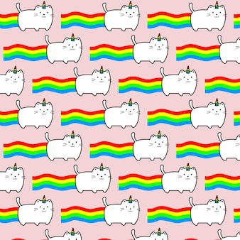 猫と虹のピンクの背景