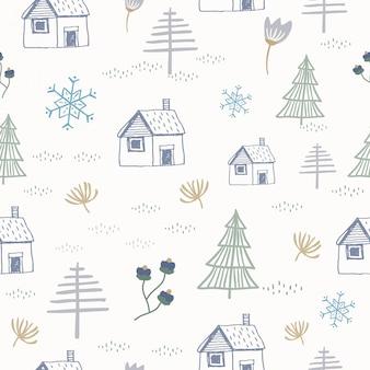 手描きのコテージとクリスマスツリーのシームレスなパターン