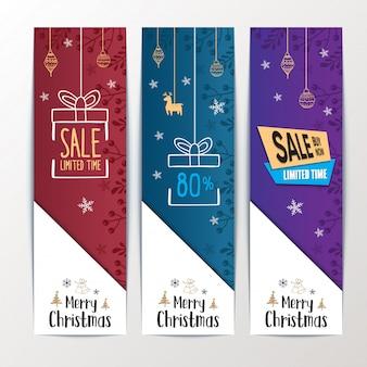 メリークリスマスバナーセールスウェブサイト。