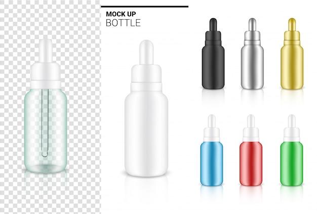 透明なドロッパーボトル、スキンケアに必要な商品や薬のイラストの現実的な化粧品。ヘルスケア、医療、科学のコンセプトデザイン。