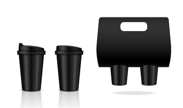 現実的なコーヒーブラックカップ包装製品をモックアップ
