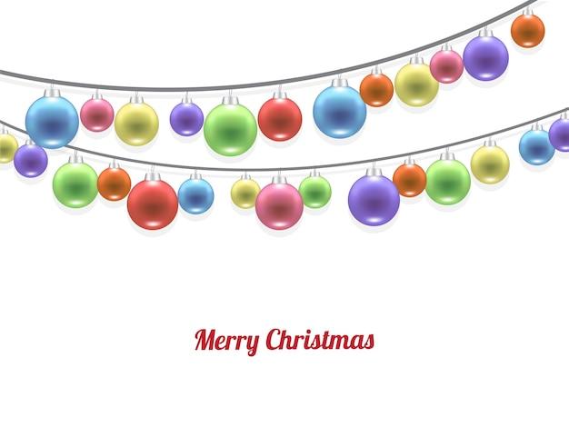 リアルなパステルカラフルなメリークリスマスボール
