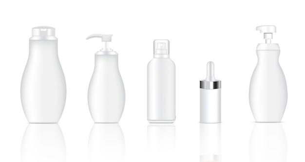 現実的なホワイトスプレー、ドロッパー、ポンプ化粧品ボトルをモックアップ
