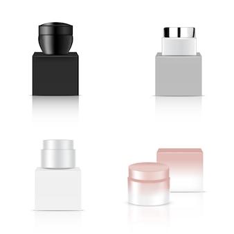 現実的な光沢のある化粧品ボウルセットをモックアップ
