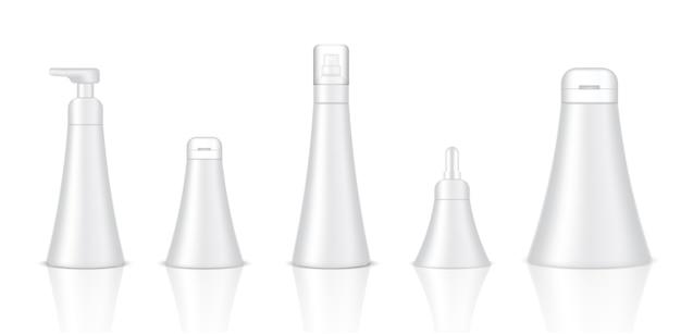 現実的な白の化粧品ボトルクリームをモックアップ