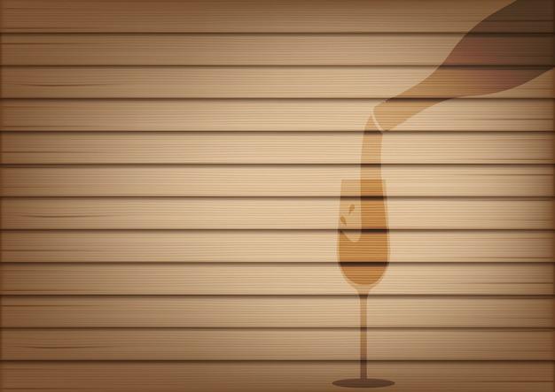 リアルな木とワインの瓶ガラスの影をモックアップ