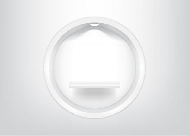 現実的な空の円棚をモックアップします。