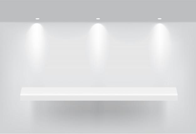 製品を表示するインテリア用のリアルな空の棚をモックアップします