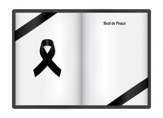 白い紙に黒の尊敬リボンで喪シンボルをモックアップします。