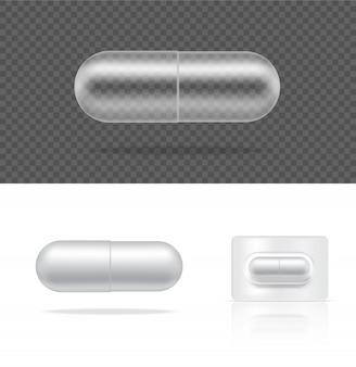 白い背景の上の現実的な透明なピル薬カプセルパネルをモックアップします。
