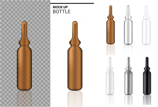 薬瓶は現実的なアンプルまたは点滴器のプラスチック包装を模擬する。白い背景の上の食品およびヘルスケア製品のため。
