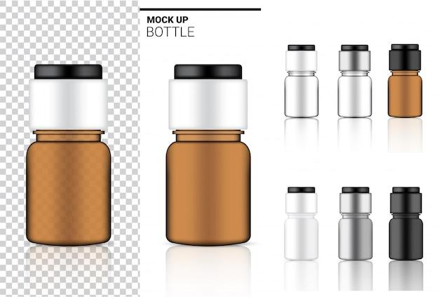 薬瓶のモックアップ現実的な透明包装