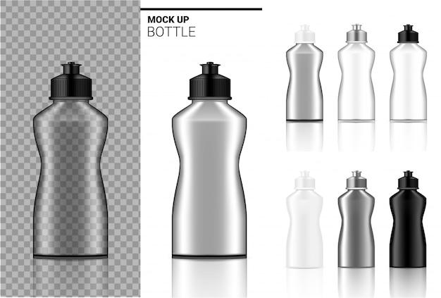 Бутылка макет реалистичная прозрачная белая, черная и стеклянная ампула или капельница пластиковая упаковка