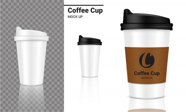 モックアップ現実的なコーヒーカップ包装製品