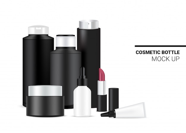 スキンケア用の現実的な黒と白の化粧品テンプレートセットのモックアップのボトル