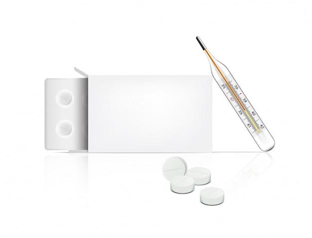 Реалистичные таблетки на белом фоне с коробкой упаковки и термометром для лихорадки