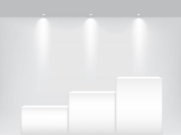 スポットライトと影の背景を持つ製品を表示するインテリアのテーブルの表彰台に現実的な空の棚のモックアップします。