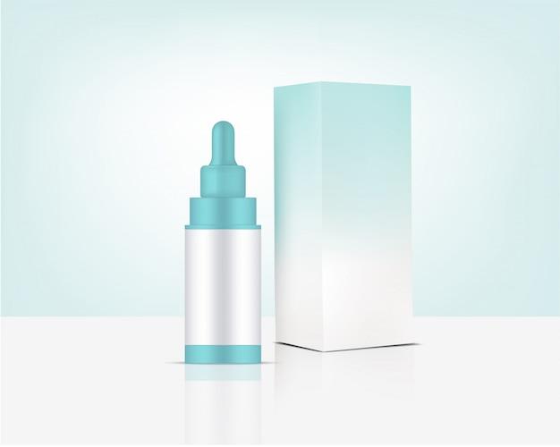 スポイトボトルモックアップ現実的なオーガニック化粧品とスキンケア製品用ボックス