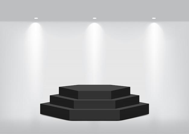 表示するインテリアの現実的な空の幾何学的な棚のモックアップ