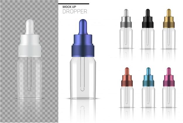 透明なドロッパーボトルは、現実的なオーガニック化粧品のモックアップを作成します