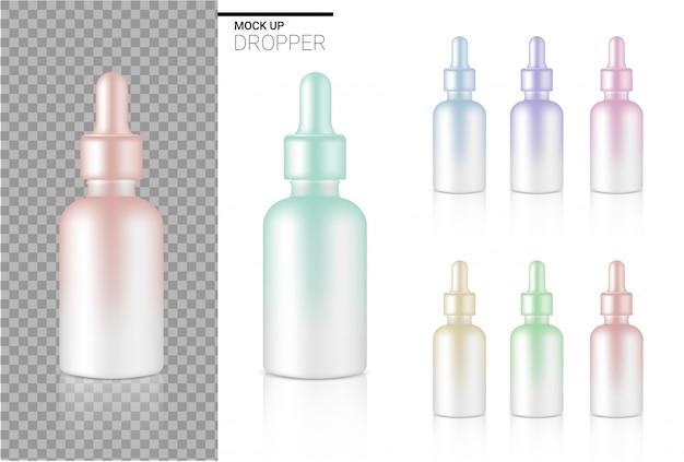 現実的なドロッパーボトル化粧品パステルカラーセットテンプレートのモックアップします。