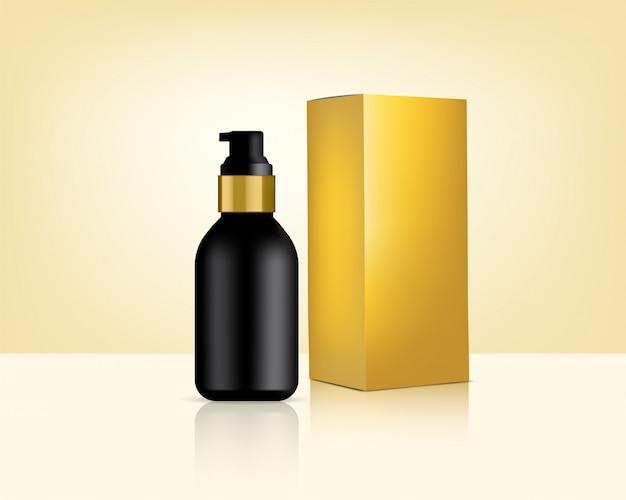 ボトルポンプは、スキンケア製品の背景イラストのリアルなゴールド化粧品とボックスをモックアップします。健康管理と医療コンセプトデザイン。