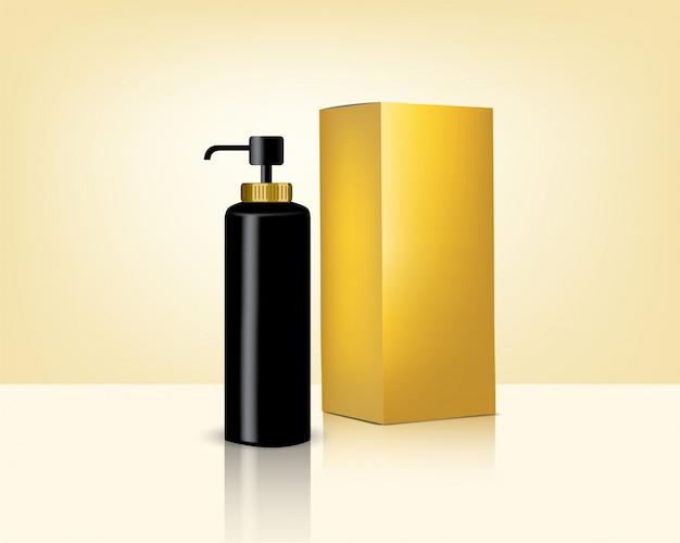 Бутылка насоса макет реалистичной золотой косметики и коробка для ухода за кожей фоновой иллюстрации. здравоохранение и медицинская концепция дизайна.