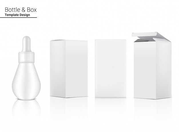 スポイトボトル、現実的な化粧品、スキンケア製品用ボックス