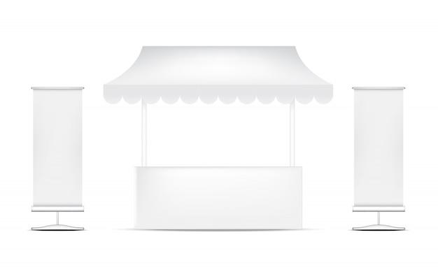 Реалистичные киоски выставочный стенд для продажи маркетинговой рекламы, событий и выставочной концепции дизайна.