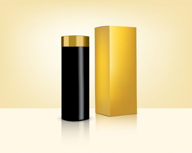 Бутылка реалистичная золотая косметика и коробка для ухода за кожей