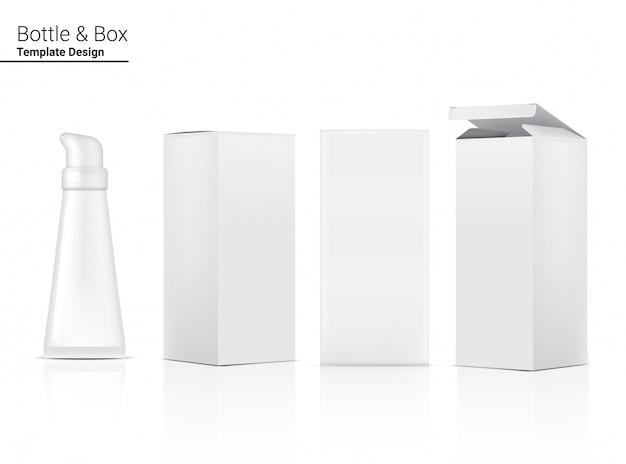 Трубка реалистичная косметика и коробка для ухода за кожей иллюстрация продукта. здравоохранение и медицинская концепция дизайна.