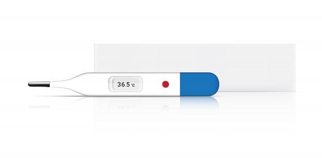 発熱チェック用の現実的な体温計医療およびボックス包装。白い背景の上の病院ツールコンセプトデザイン。オブジェクト図