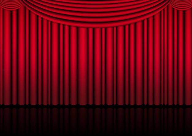 Реалистичная театральная сцена в помещении с красным занавесом для комедийного шоу или оперного кино. иллюстрации.