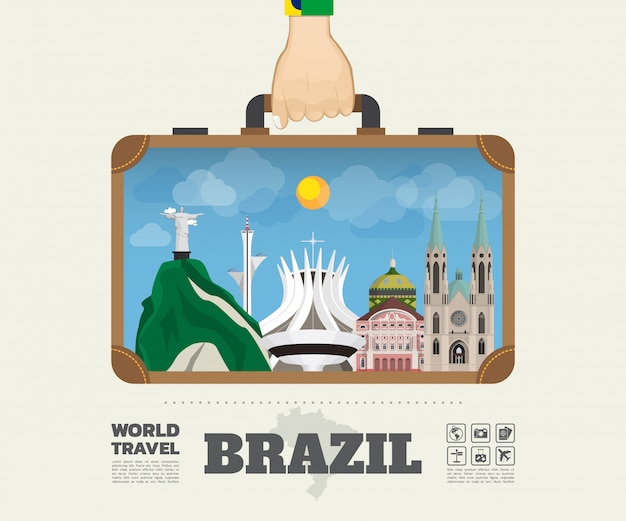 ブラジルのランドマーク世界旅行と旅インフォグラフィックバッグを運ぶ手。
