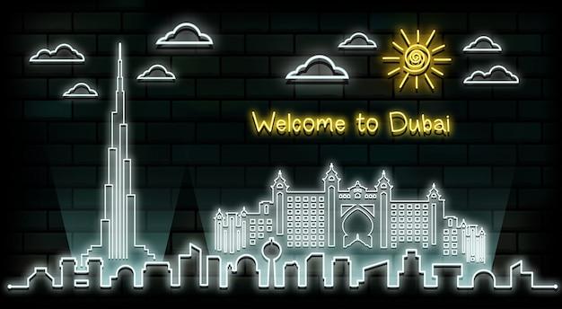 ドバイ旅行と旅のネオンの光の背景。