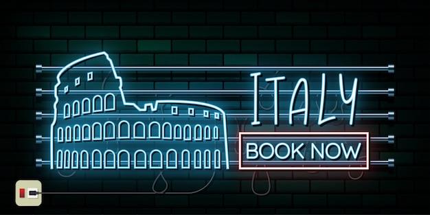 イタリアとローマの旅行と旅のネオンの光の背景